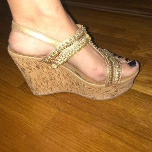 naughty monkey Shoes - Gold sequin wedges !! Super comfy